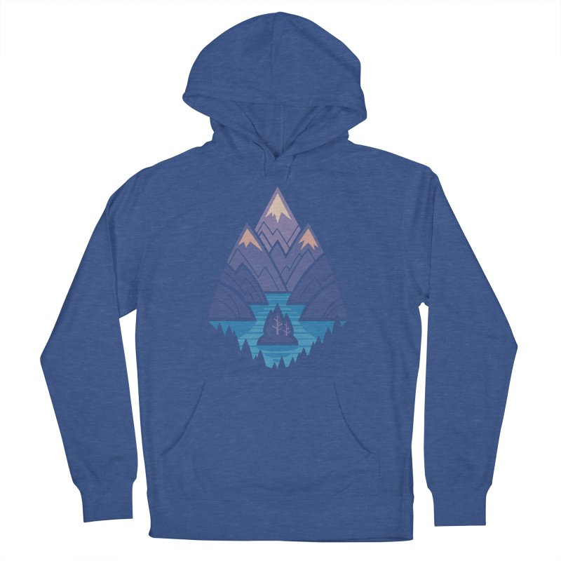 Mountain Lake : Dark Blue Men's French Terry Pullover Hoody by Waynem