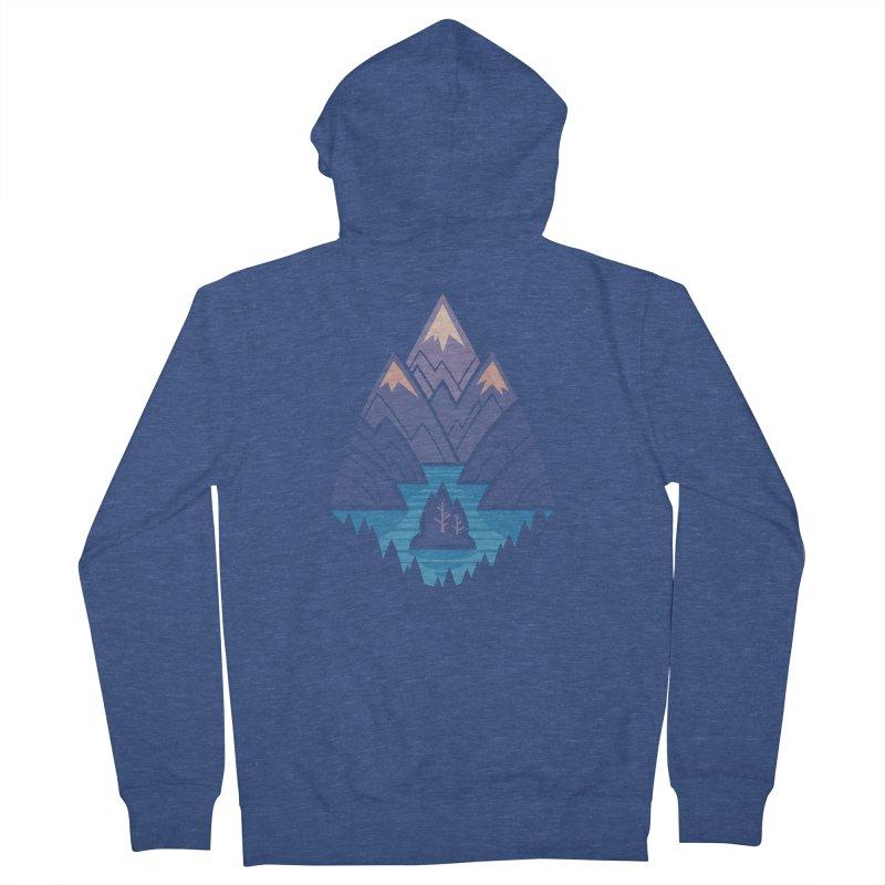 Mountain Lake : Dark Blue Women's French Terry Zip-Up Hoody by Waynem