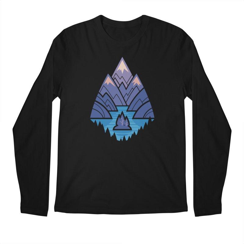 Mountain Lake : Dark Blue Men's Regular Longsleeve T-Shirt by Waynem