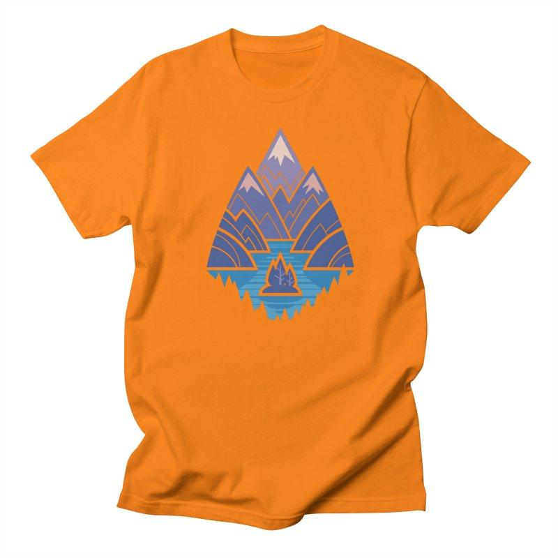 Mountain Lake : Dark Blue Men's Regular T-Shirt by Waynem