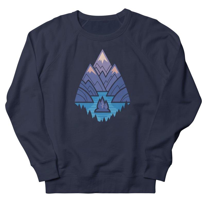 Mountain Lake : Dark Blue Women's French Terry Sweatshirt by Waynem