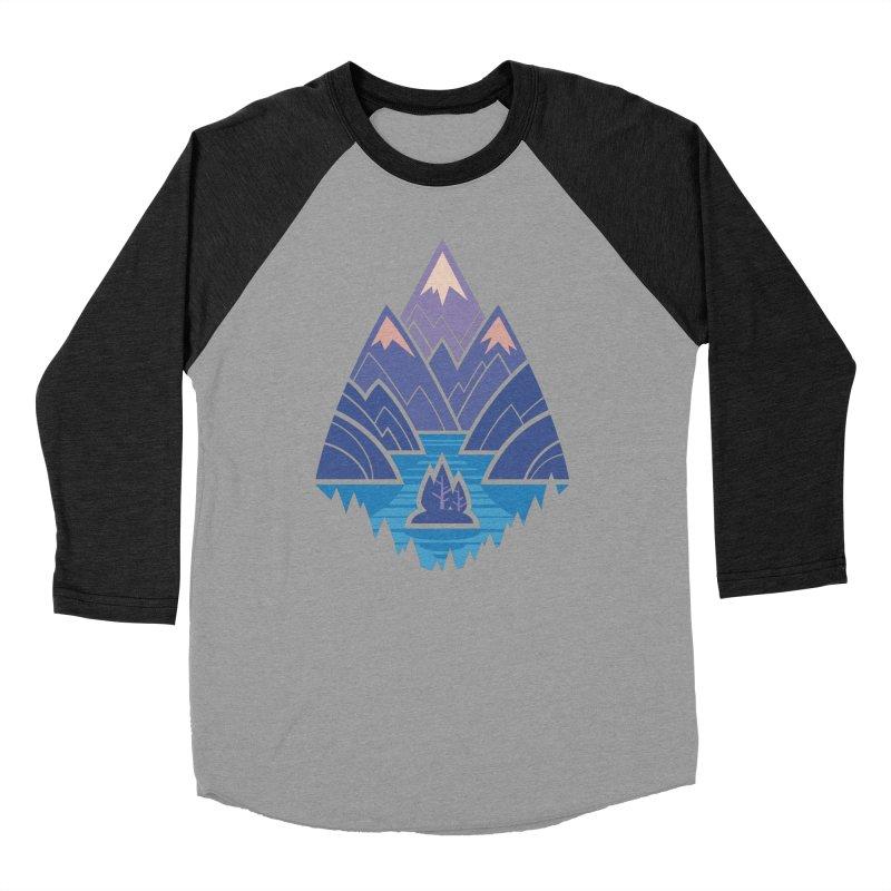 Mountain Lake : Dark Blue Women's Baseball Triblend Longsleeve T-Shirt by Waynem