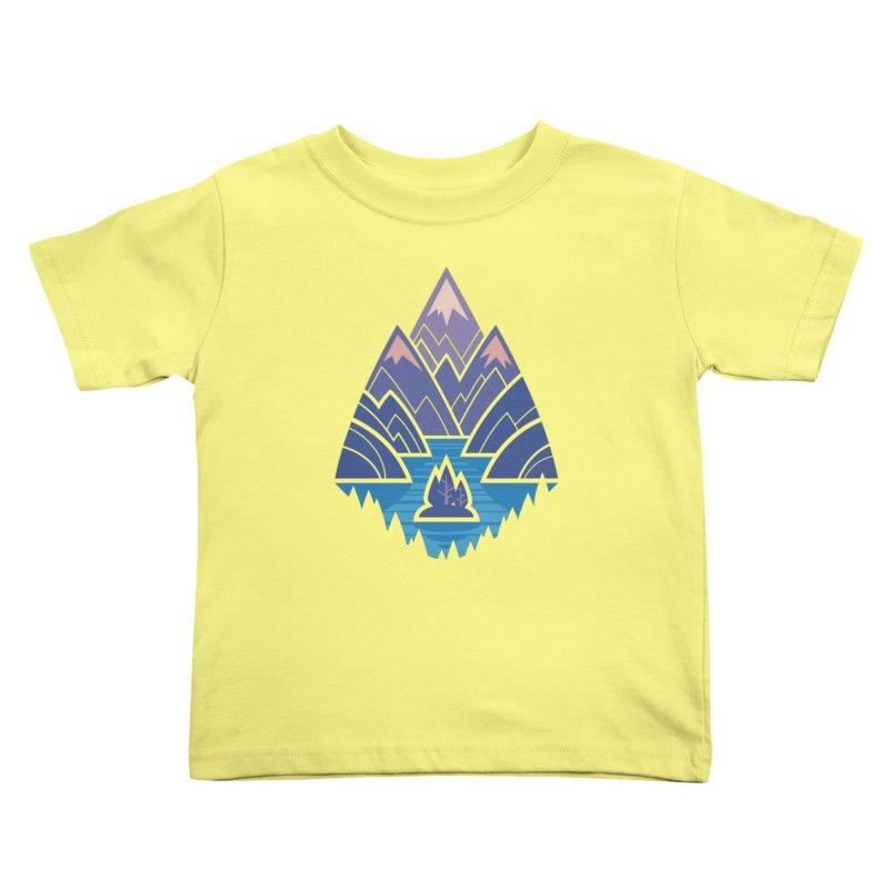 Mountain Lake : Dark Blue Kids Toddler T-Shirt by Waynem