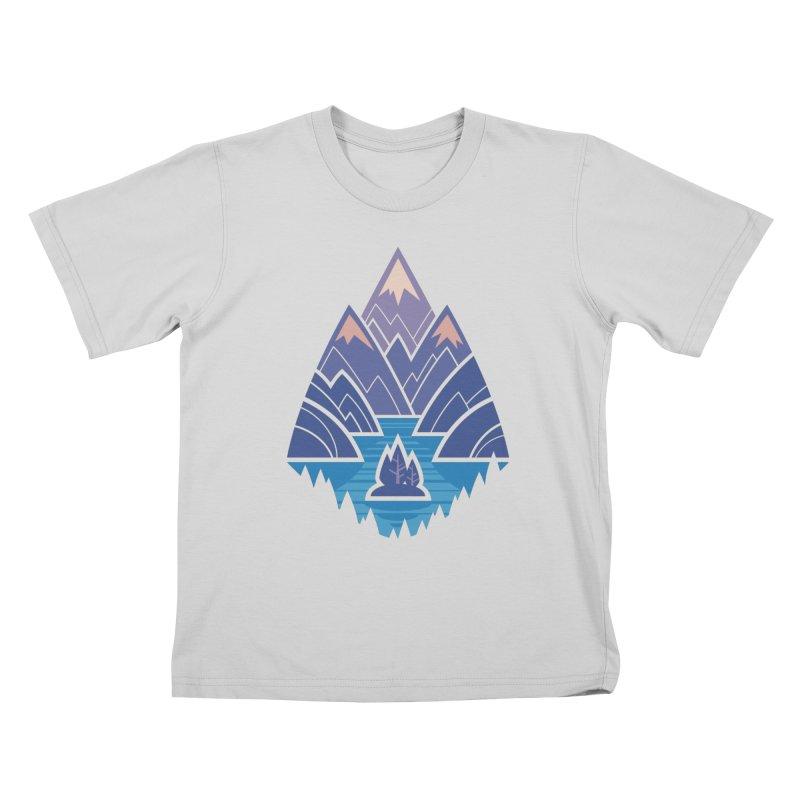 Mountain Lake : Dark Blue Kids T-Shirt by Waynem