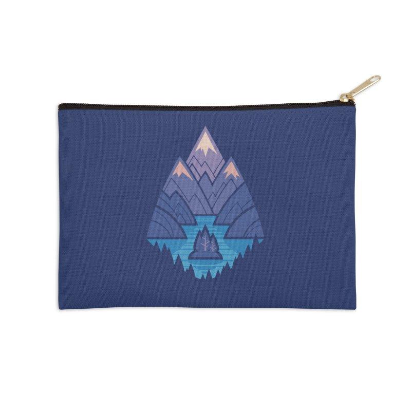 Mountain Lake : Dark Blue Accessories Zip Pouch by Waynem
