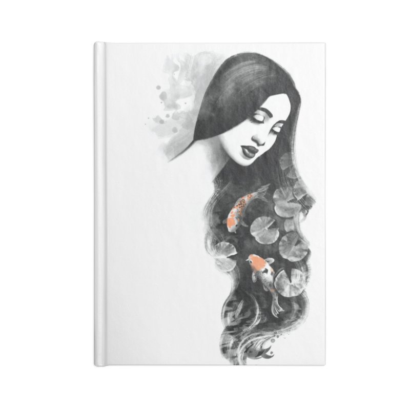 Koi Pond Dreaming Accessories Lined Journal Notebook by Waynem