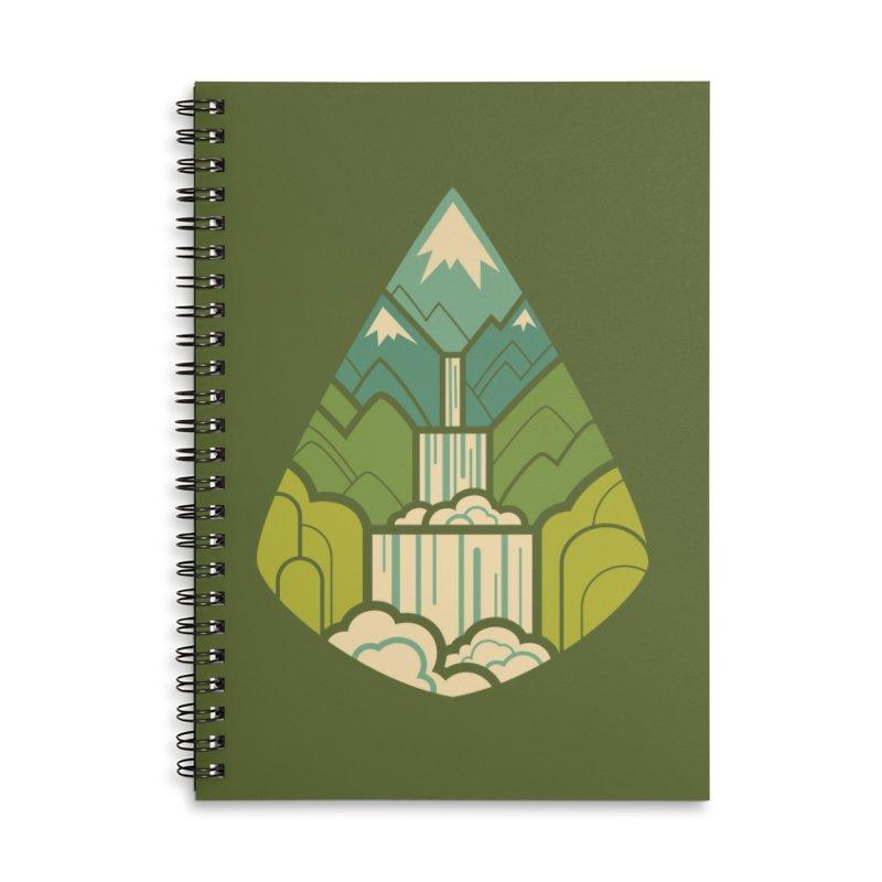 Mountain Cascade Accessories Lined Spiral Notebook by Waynem