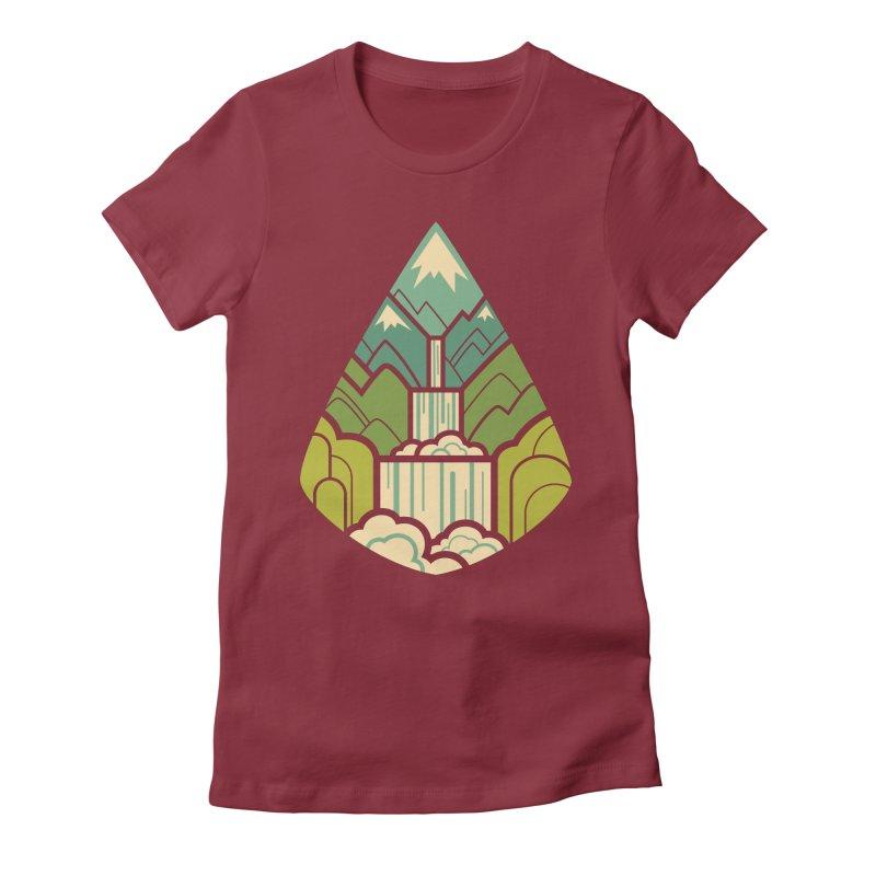Mountain Cascade Women's Fitted T-Shirt by Waynem