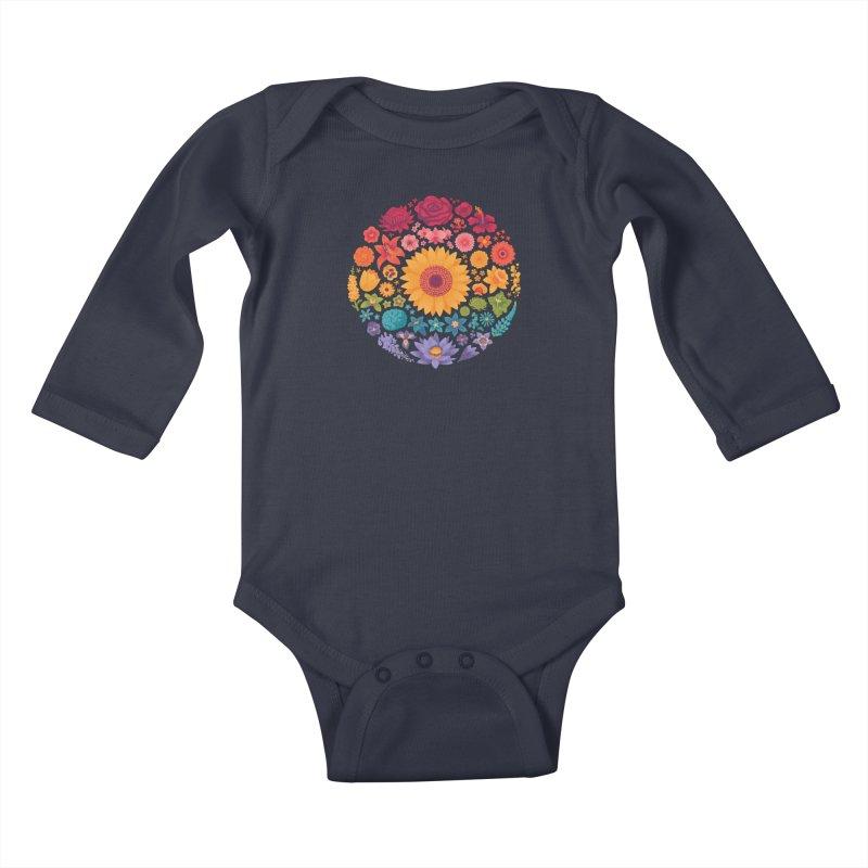 Floral Rainbow Kids Baby Longsleeve Bodysuit by Waynem
