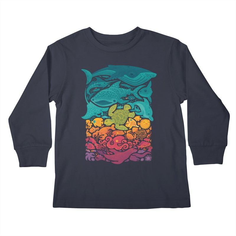 Aquatic Spectrum : Light blue Kids Longsleeve T-Shirt by Waynem