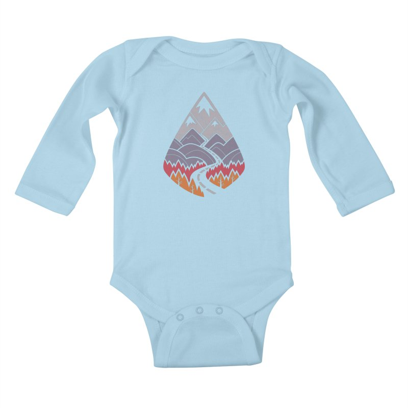 The Road Goes Ever On : Autumn (white) Kids Baby Longsleeve Bodysuit by Waynem