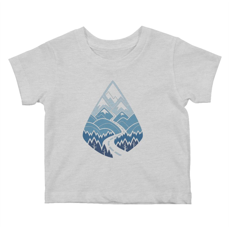 The Road Goes Ever On : Winter (white) Kids Baby T-Shirt by Waynem