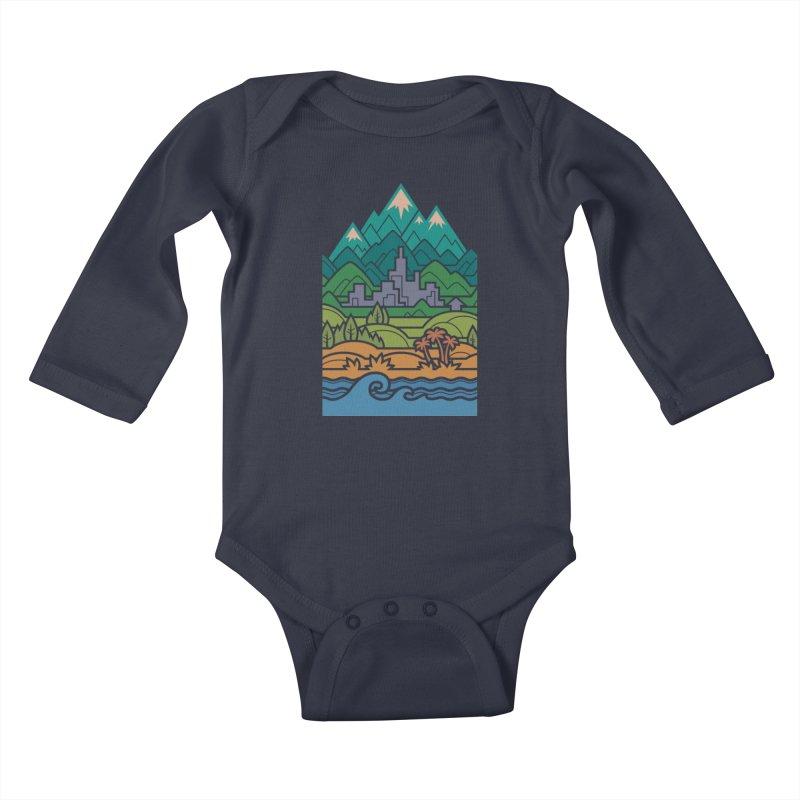Small World Landscapes Kids Baby Longsleeve Bodysuit by Waynem