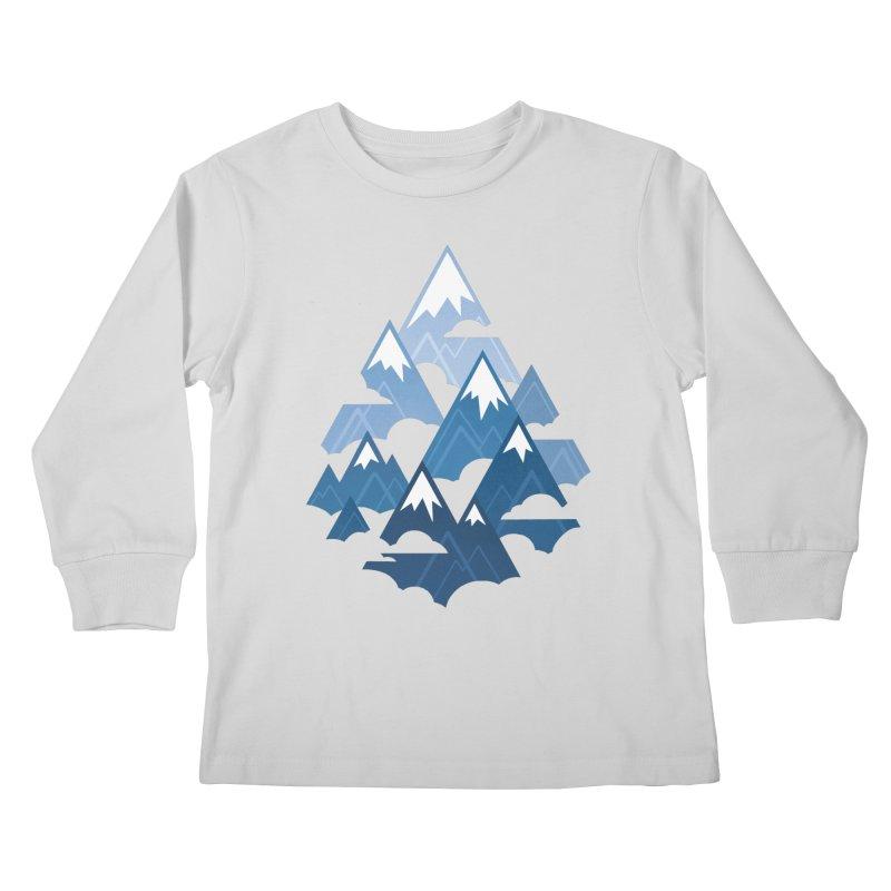 Misty Mountains : Blue Kids Longsleeve T-Shirt by Waynem