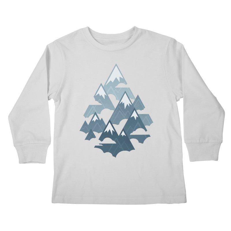 Misty Mountains : Gray Kids Longsleeve T-Shirt by Waynem