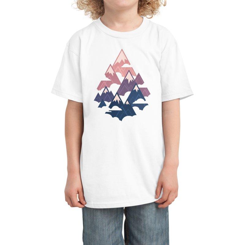 Misty Mountains : Sunset Kids T-Shirt by Waynem