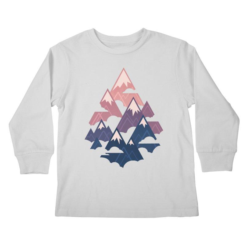 Misty Mountains : Sunset Kids Longsleeve T-Shirt by Waynem