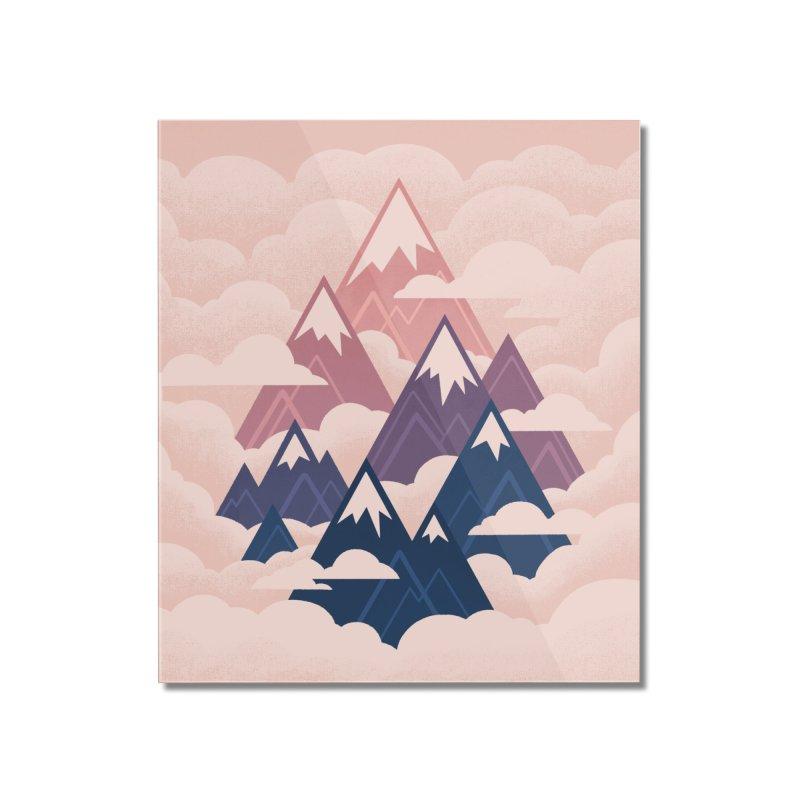 Misty Mountains : Sunset Home Mounted Acrylic Print by Waynem
