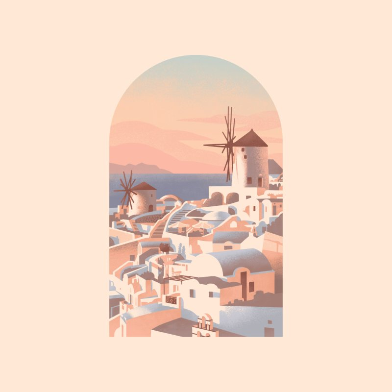 Santorini Sunset Accessories Button by Waynem