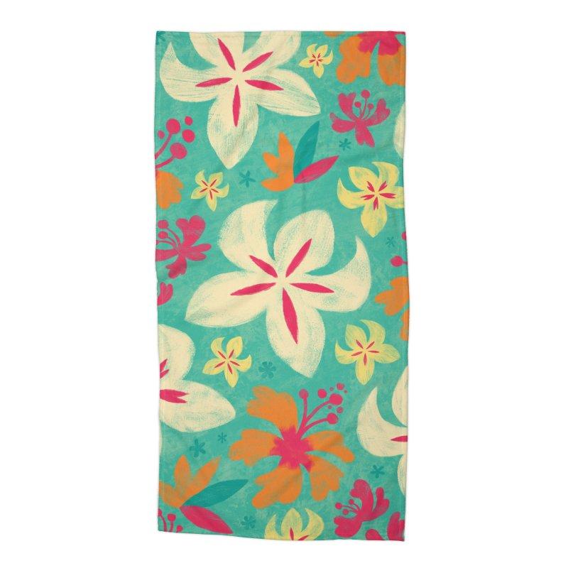 Tropicana Floral Accessories Beach Towel by Waynem