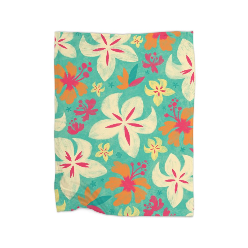 Tropicana Floral Home Fleece Blanket by Waynem