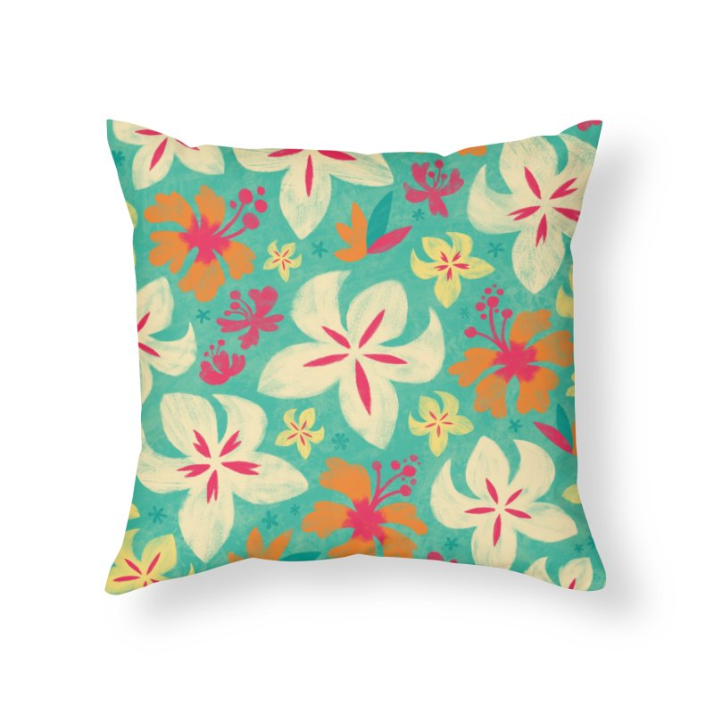 Tropicana Floral Home Throw Pillow by Waynem