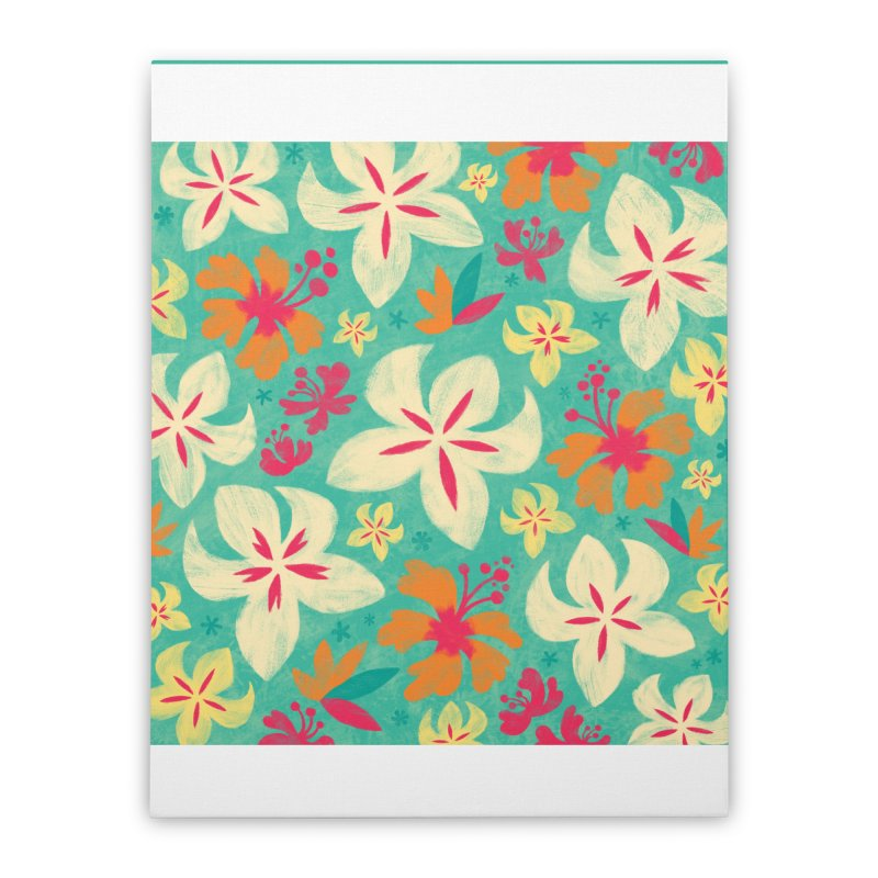 Tropicana Floral Home Stretched Canvas by Waynem