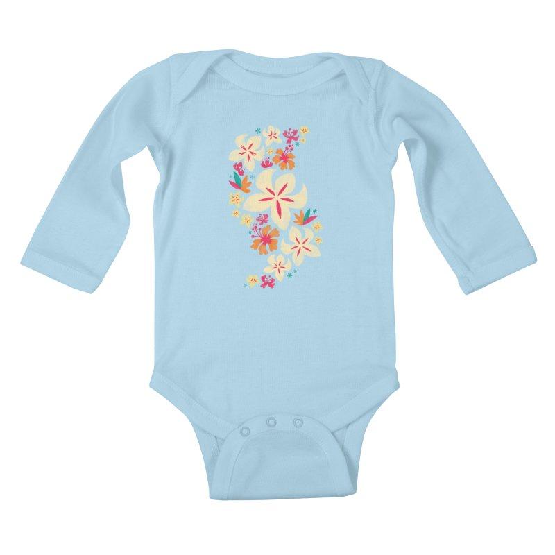 Tropicana Floral Kids Baby Longsleeve Bodysuit by Waynem