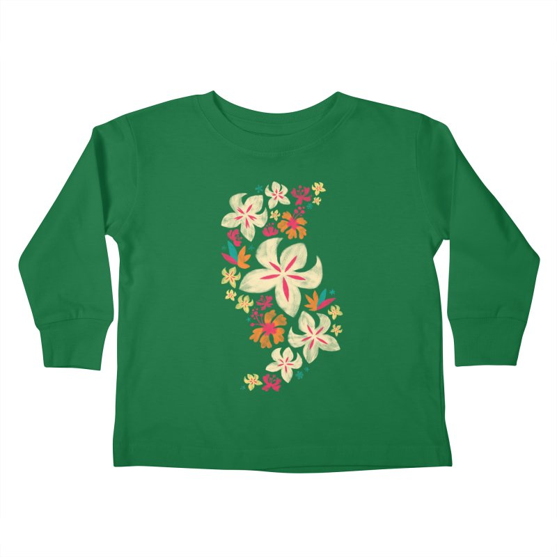 Tropicana Floral Kids Toddler Longsleeve T-Shirt by Waynem