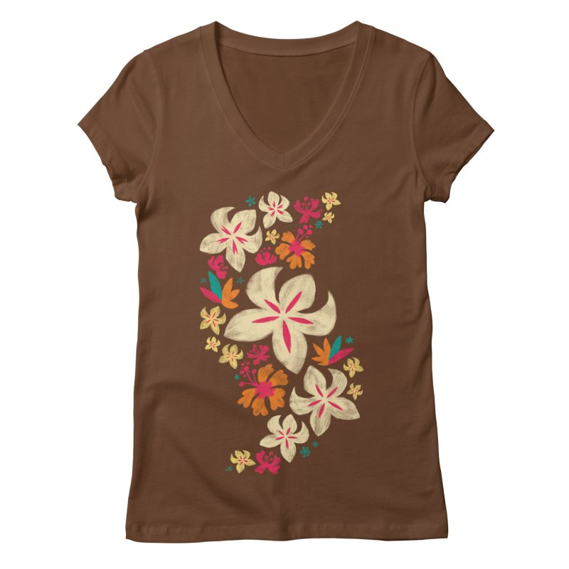 Tropicana Floral Women's V-Neck by Waynem