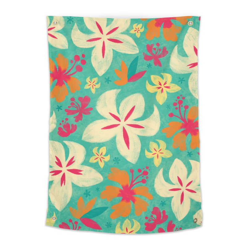 Tropicana Floral Home Tapestry by Waynem