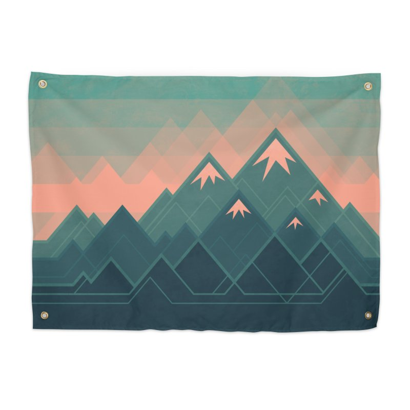 Geometric Mountains Home Tapestry by Waynem