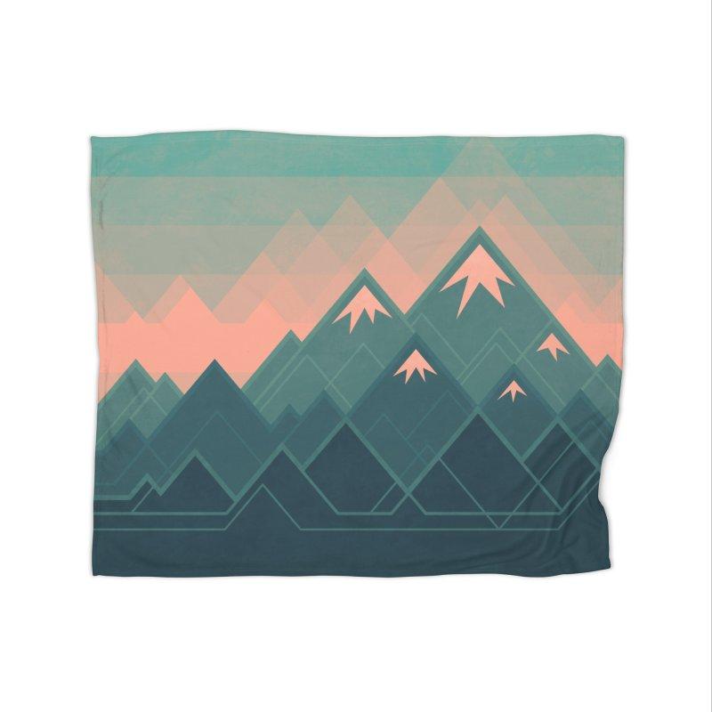 Geometric Mountains Home Fleece Blanket by Waynem