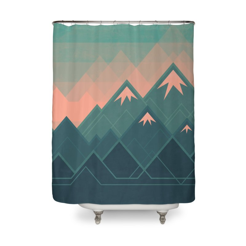 Geometric Mountains Home Shower Curtain by Waynem