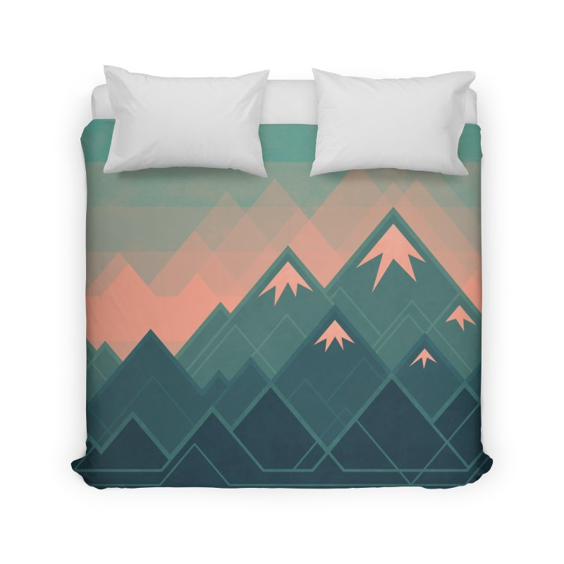 Geometric Mountains Home Duvet by Waynem