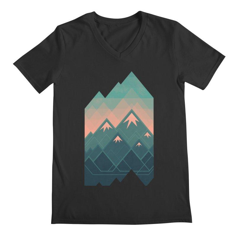 Geometric Mountains Men's V-Neck by Waynem