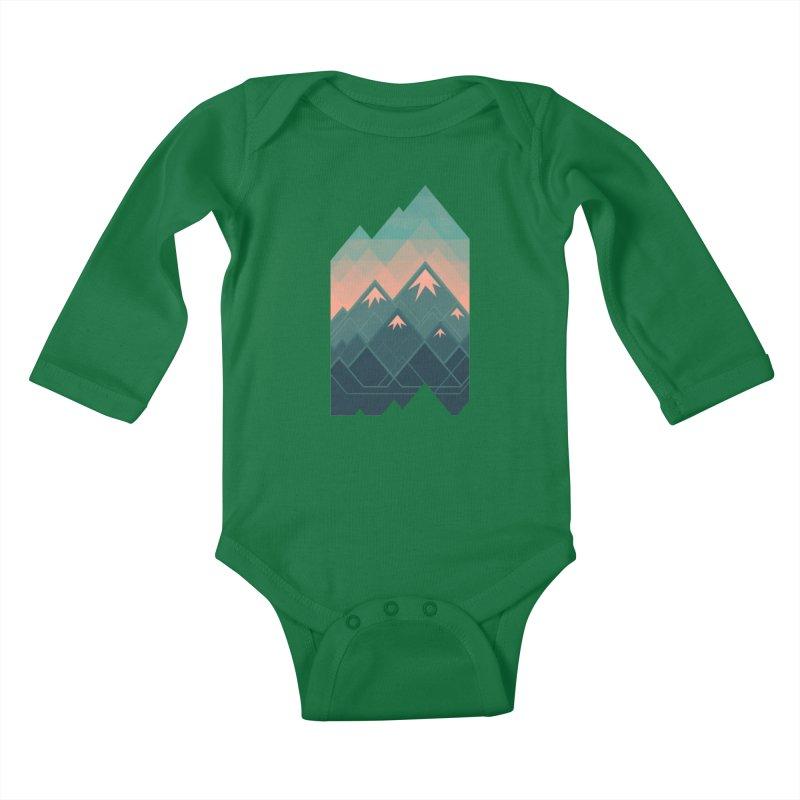 Geometric Mountains Kids Baby Longsleeve Bodysuit by Waynem