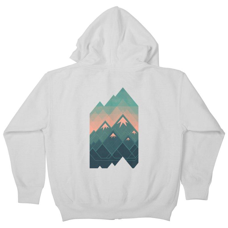 Geometric Mountains Kids Zip-Up Hoody by Waynem