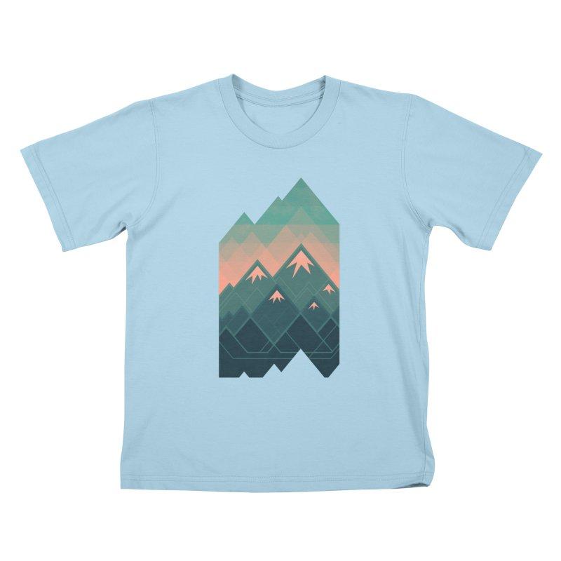 Geometric Mountains Kids T-Shirt by Waynem