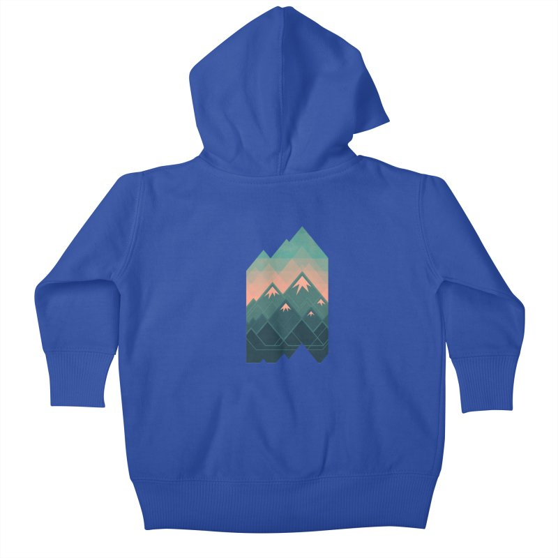 Geometric Mountains Kids Baby Zip-Up Hoody by Waynem