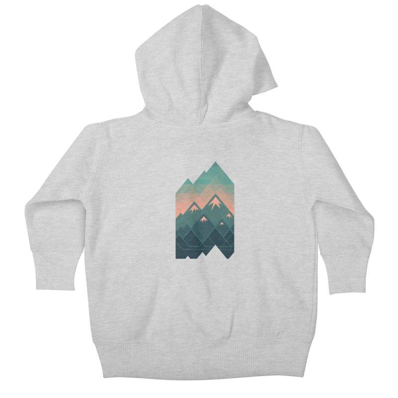 Geometric Mountains Kids Baby Zip-Up Hoody by Waynem