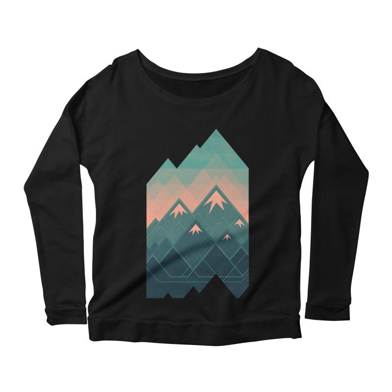 Geometric Mountains Women's Longsleeve Scoopneck  by Waynem