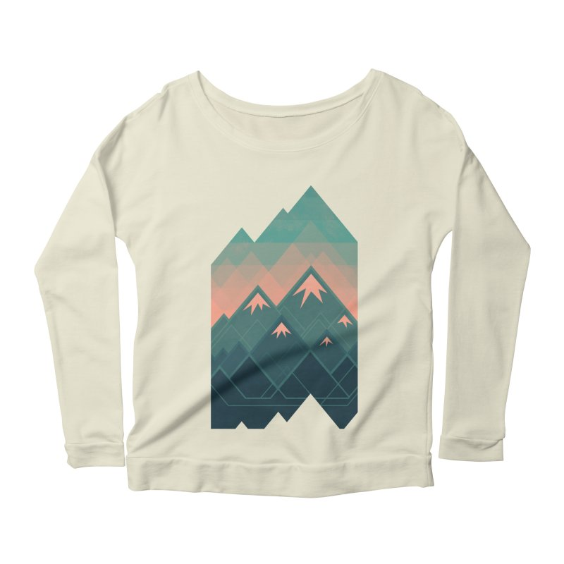 Geometric Mountains Women's Longsleeve Scoopneck  by Waynem
