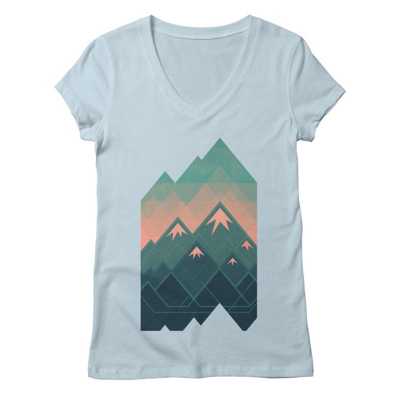 Geometric Mountains Women's V-Neck by Waynem