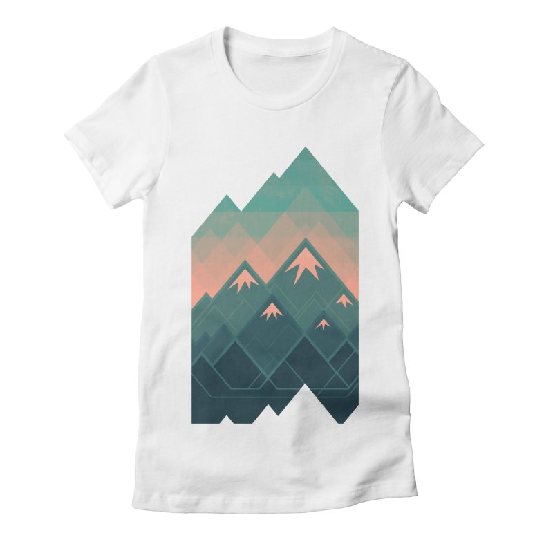 Geometric Mountains Women's Fitted T-Shirt by Waynem
