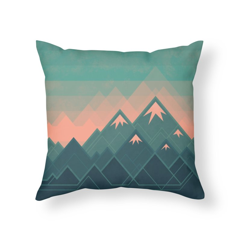 Geometric Mountains Home Throw Pillow by Waynem