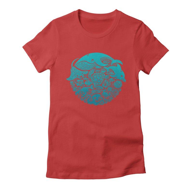 Aquatic Spectrum Women's Fitted T-Shirt by Waynem