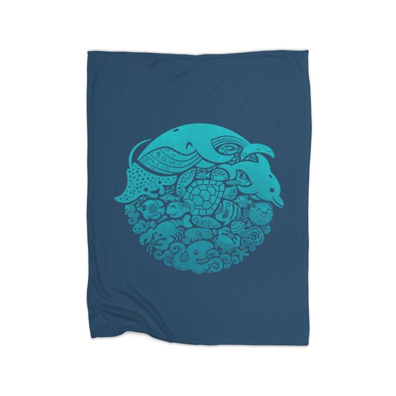 Aquatic Spectrum Home Fleece Blanket by Waynem