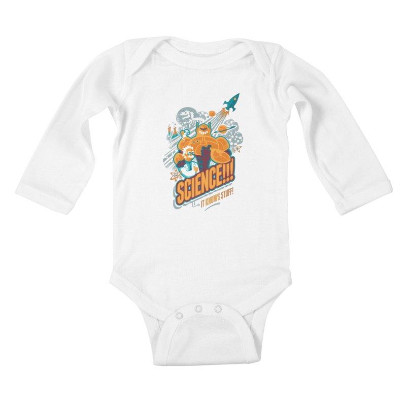 Science!!! It Knows Stuff! Kids Baby Longsleeve Bodysuit by Waynem
