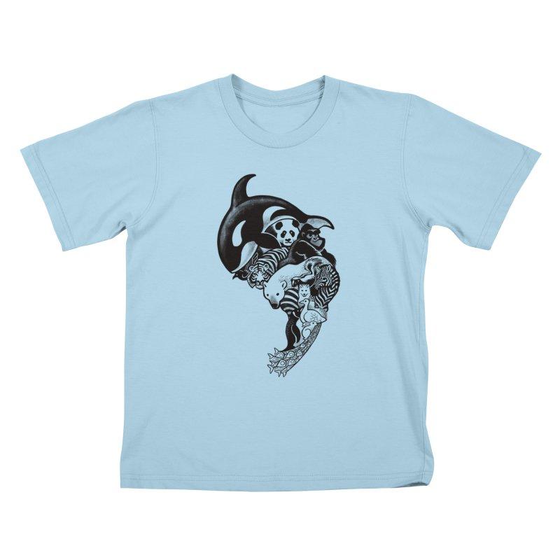 Monochromanimal Kids T-Shirt by Waynem
